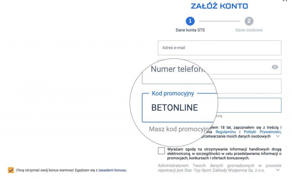 STS kod promocyjny - bonus bez depozytu 2020